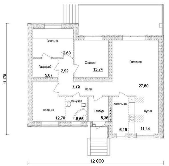 Проект 1. Дом с тремя спальнями