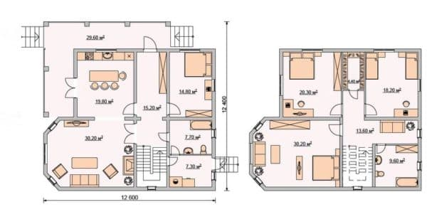 Проект 1. Планировка дома 12х12 с мансардой