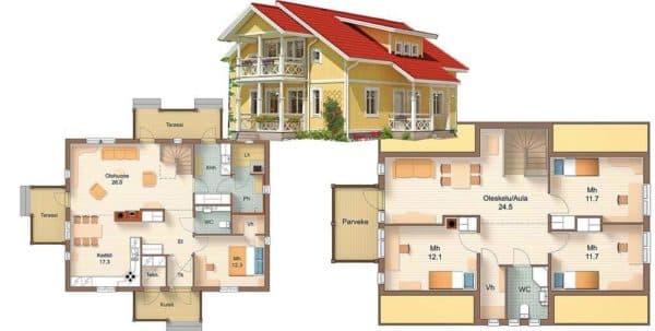 Проект 2. Планировка дома 12х12 с мансардой
