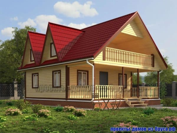 Дом 10 на 10 с мансардой и верандой