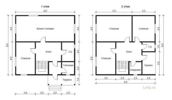 Планировка двухэтажного дома 9х9