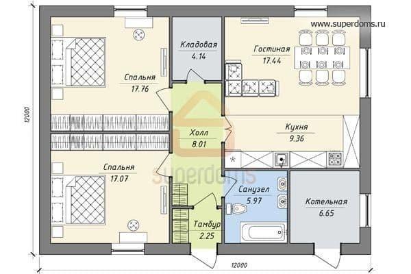 Планировка с совмещенными и помещениями