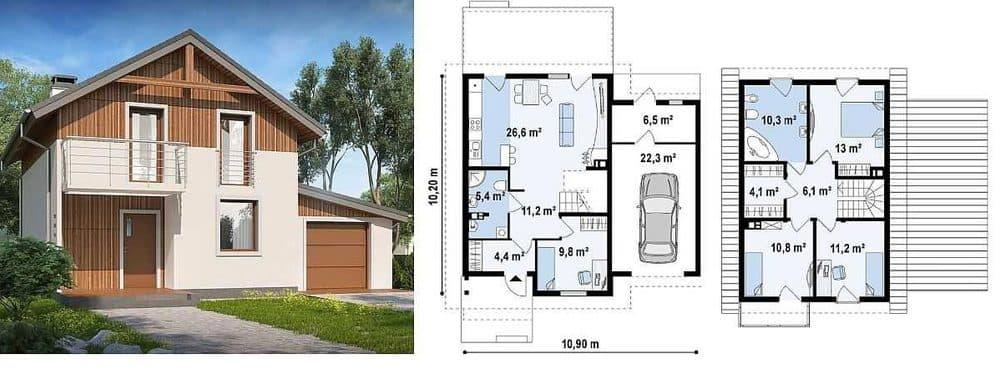 Дом 10 на 10 с гаражом