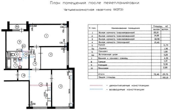 №3. Перепланировка 4-комнатной квартиры
