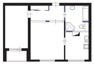№2. Перепланировка 1-комнатной квартиры