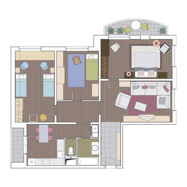 Четырехкомнатная квартира в доме КОПЭ-М-Парус