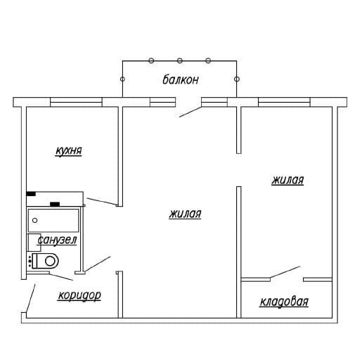 Двухкомнатная квартира в домах серии 1-464