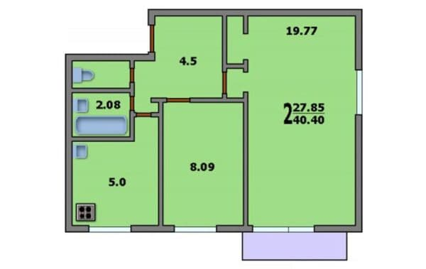 Вариант 1. Планировка двухкомнатной квартиры