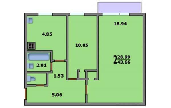 Вариант 2. Планировка двухкомнатной квартиры