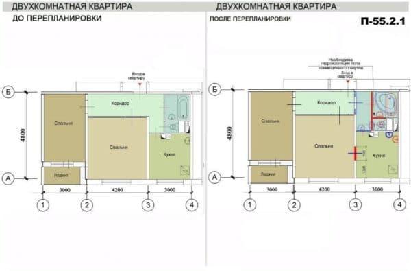Пример перепланировки 2-комнатной квартиры