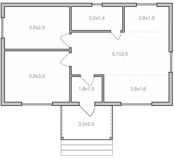 Одноэтажный дом 6х10