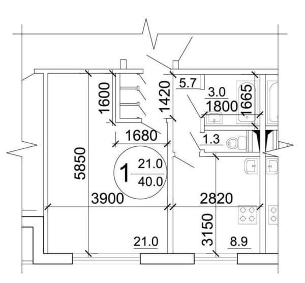 Однокомнатная квартира дома серии п-30