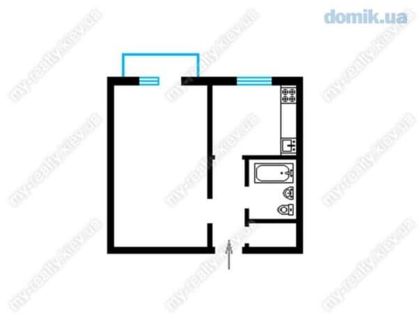 Однокомнатная квартира в домах серии 1-464