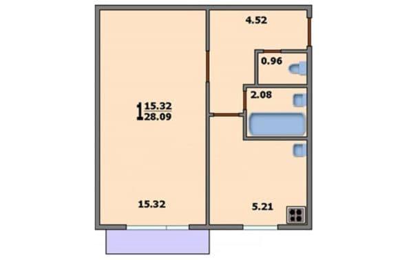 Вариант 2. Планировка однокомнатной квартиры