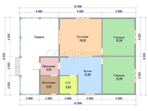 Пример планировки дома 8 на 12