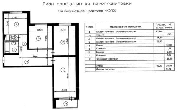 №5 Планировка трехкомнатной квартиры