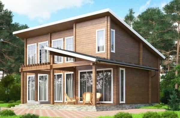 Двухэтажный дом 8 на 8 с односкатной крышей