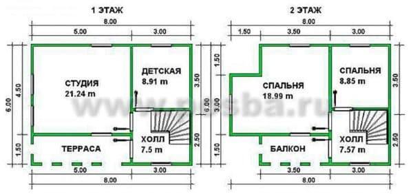 Пример планировки двухэтажного дома 6х8