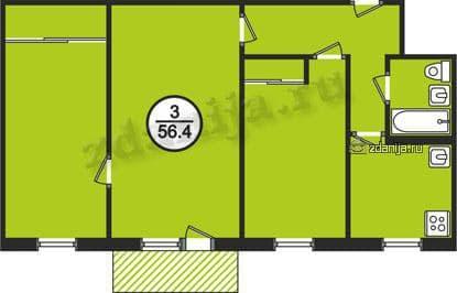 Трехкомнатная квартира в домах серии 1-464