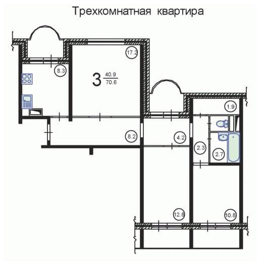 №2. Планировка 3-комнатной квартиры