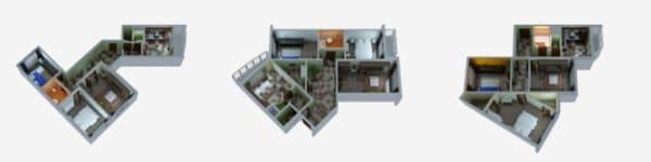 Трехкомнатные квартиры серии п-3мк