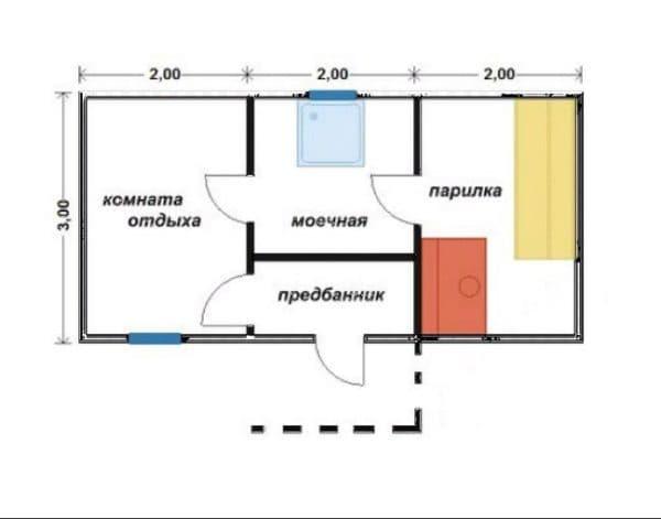 Баня 6х3 (вариант 2)
