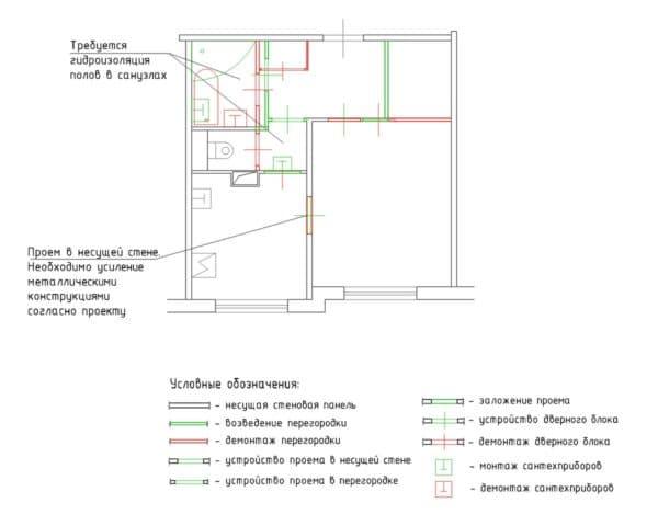 №1. Перепланировка 1-комнатной квартиры