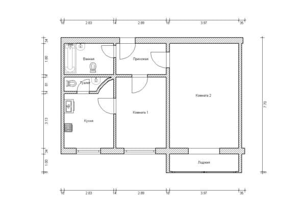 №3. Перепланировка 2-комнатной квартиры