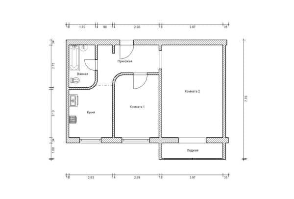 №4. Перепланировка 2-комнатной квартиры