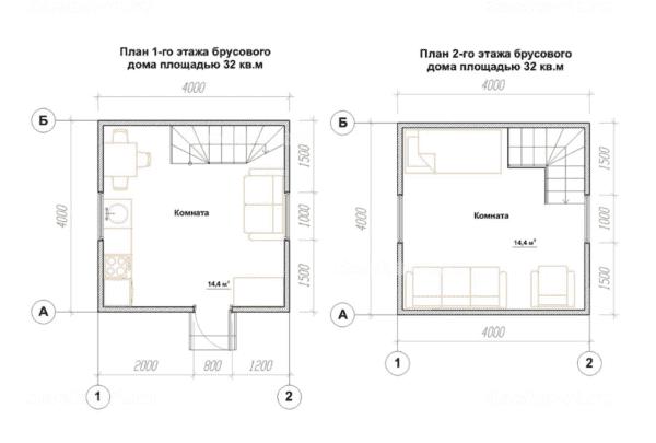 Двухэтажный дом 4 на 4