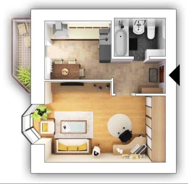 Планировка квартиры 35 кв. м_3