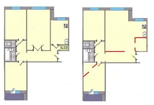 Переплпанировка трехкомнатной квартиры