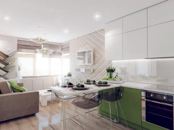 фото дизайна кухни-гостиной 12-13 кв. м