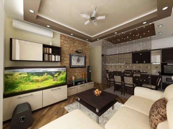 Кухня-гостиная в 3D