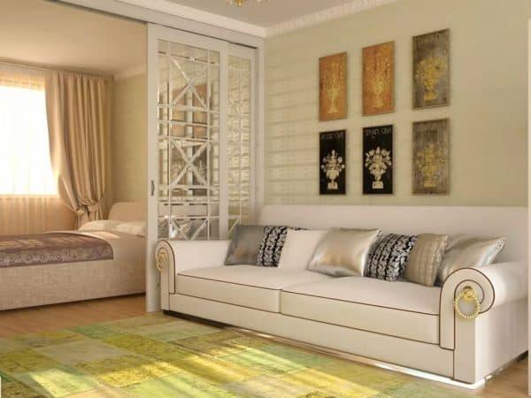 Зонирование спальни-гостиной