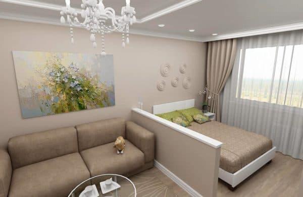 Зонирование спальни-гостиной 2