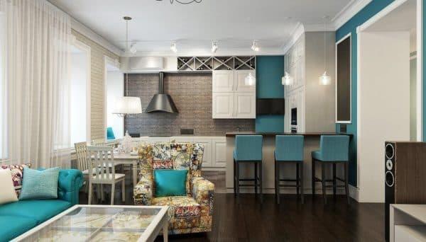 Кухня-гостиная 15 кв. м отделка