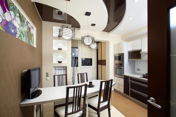 двухуровневый потолок на кухне-гостиной