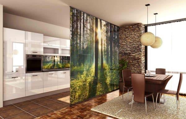 Зонирование кухни-гостиной шторой