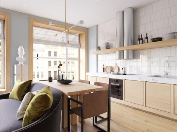 Кухонный гарнитур вдоль стены