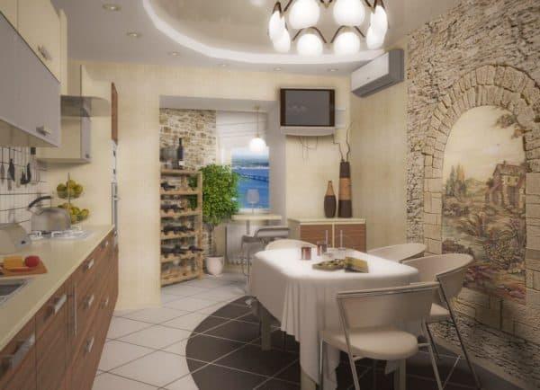 Кухня-гостиная в старомодном стиле