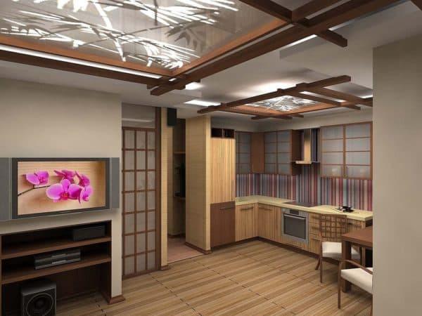 Кухня-гостиная в стиле японского минимализма