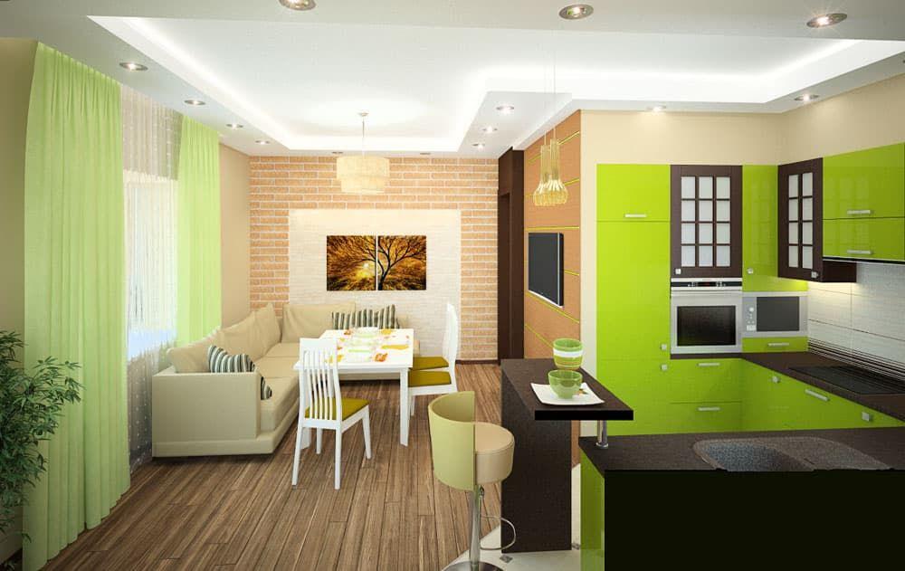 Цветовое зонирование кухни