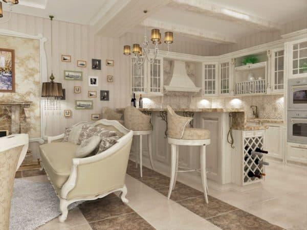 Кухня-гостиная в стиле прованс