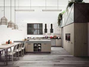 Интерьер кухни в стиле лофт 1