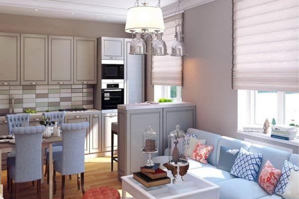 Дизайн кухни-гостиной 18 кв. м