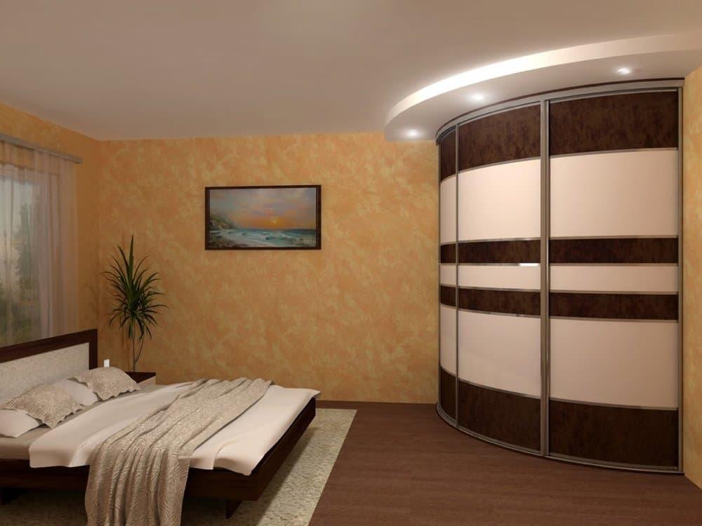 Угловой гардеробный шкаф-купе в спальне