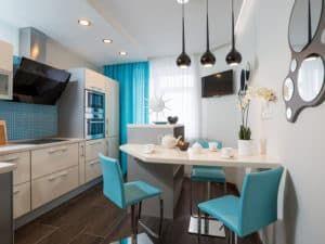 Дизайн прямоугольной кухни 1