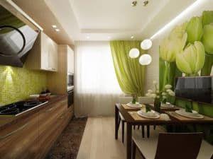 Дизайн прямоугольной кухни 2