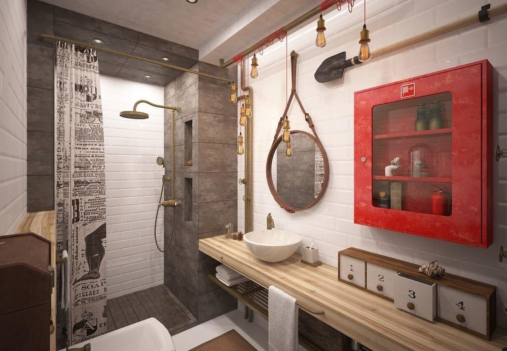 Стиль лофт в ванной комнате
